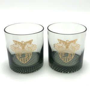 West Point Smoky Rocks Glasses Gold Crest Military